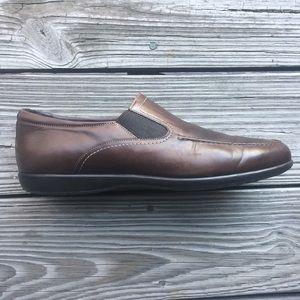 SANTONI Italy Mens 9 D Brown Slip-On Dress Shoes 17086905c57